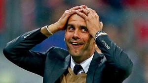 "Dette blir sannsynligvis ansiktsuttrykket til Pep Guardiola hvis City vinner finalen i mai. ""Guardiola on Lewandowski scoring 5 goals""(Public Domain)bymilos10r"